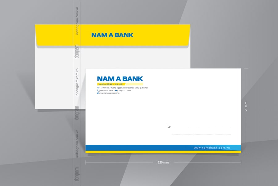 Mẫu phong bì A6 ngân hàng Nam Á bank