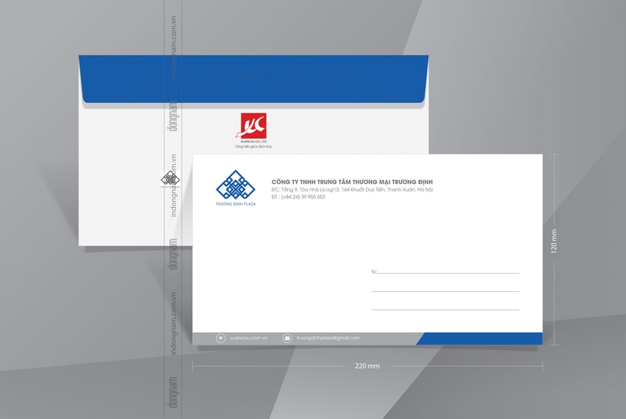 Mẫu phong bì A6 trung tâm thương mại tập đoàn Xuân Cầu
