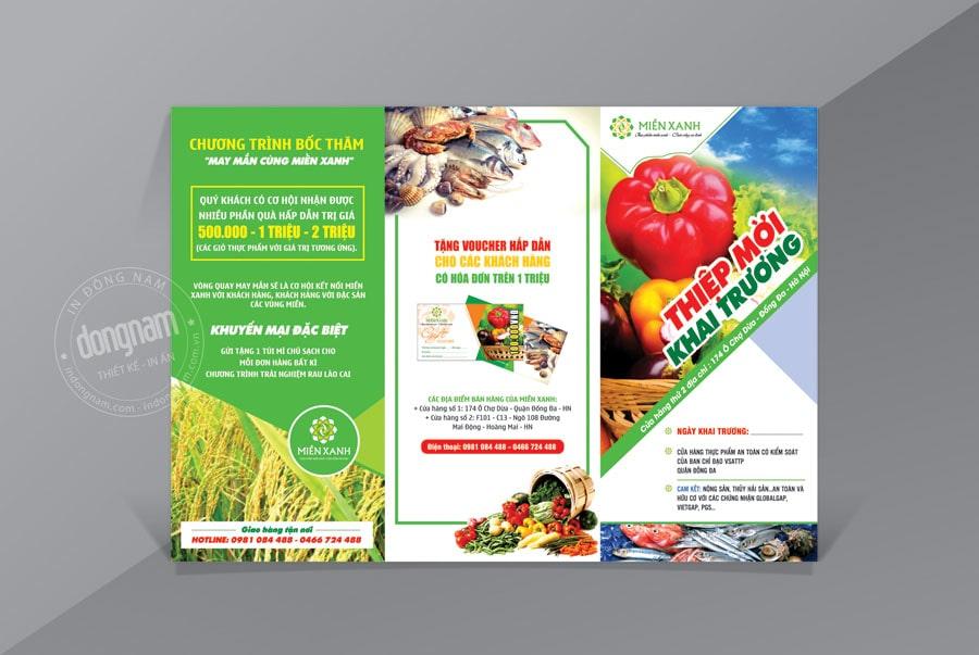 Mẫu tờ gấp quảng cáo cửa hàng thực phẩm sạch