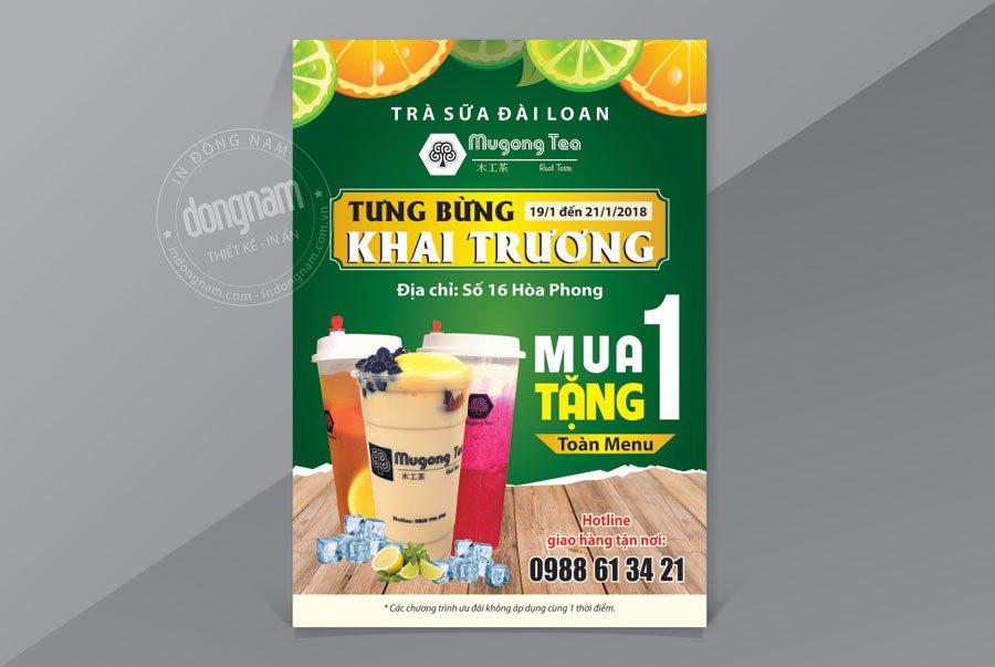Mẫu tờ rơi khai trương quán trà sữa Mugong Tea