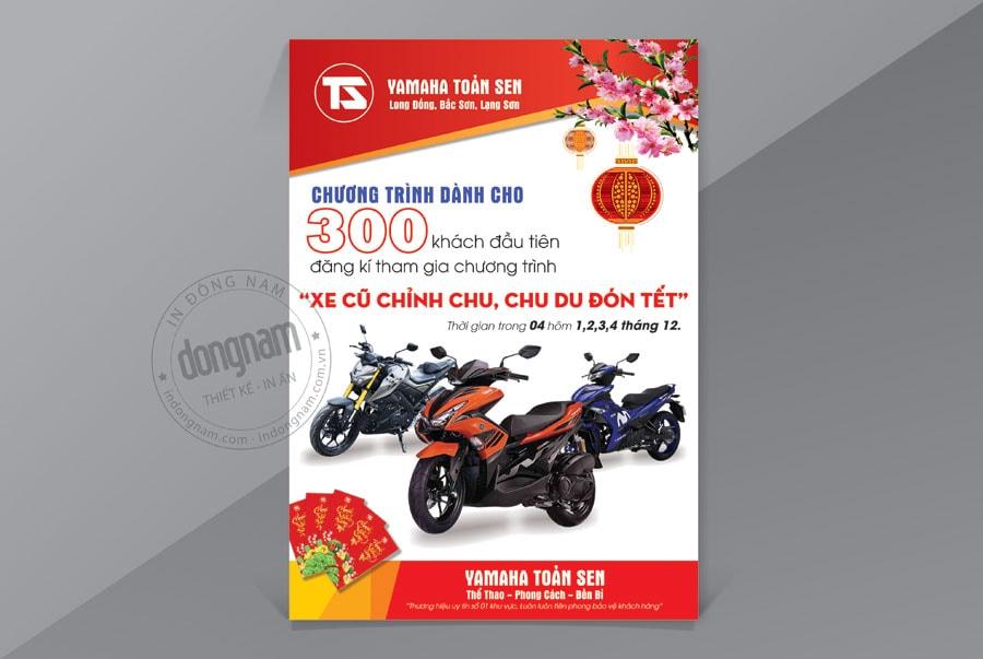 Mẫu tờ rơi khuyến mãi cửa hàng xe máy Yamaha ủy nhiệm