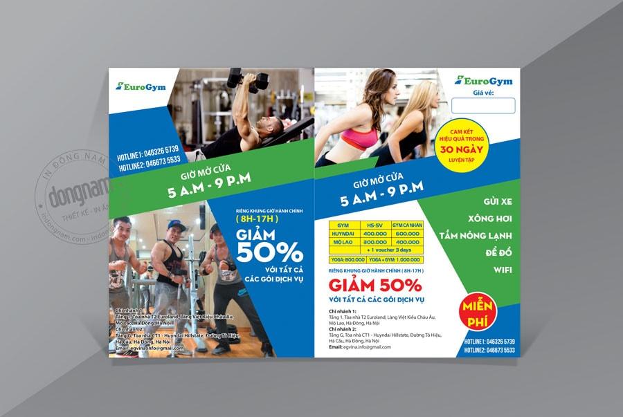 Mẫu tờ rơi khuyến mại giảm giá phòng tập Gym