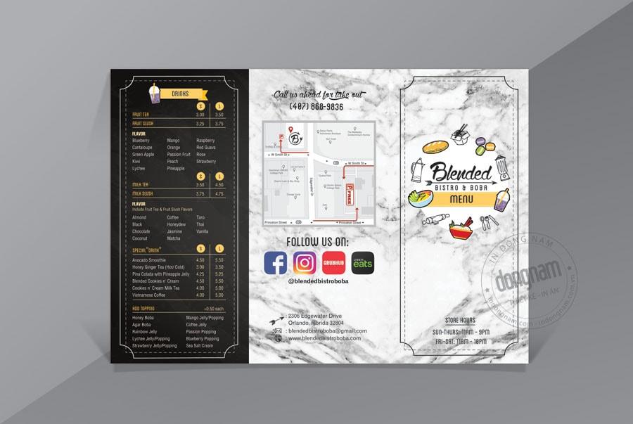 Mẫu menu quán ăn dạng tờ gấp