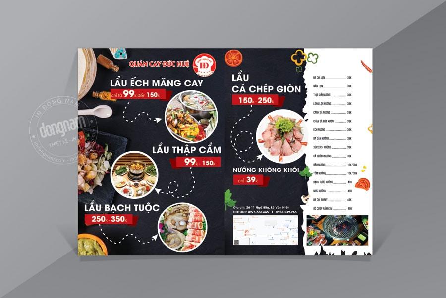 Mẫu tờ rơi kết hợp menu nhà hàng