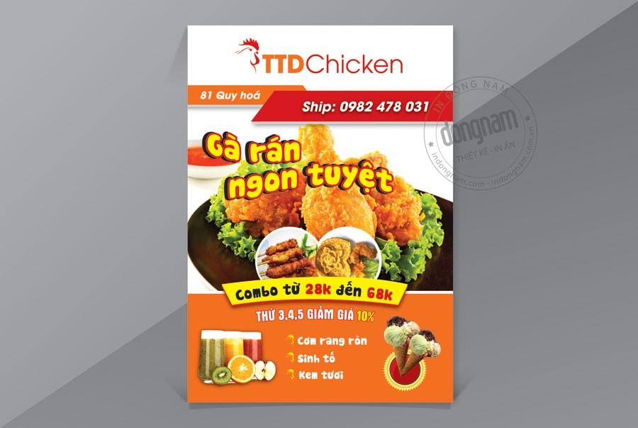 Mẫu tờ rơi nhà hàng gà rán và đồ ăn nhẹ