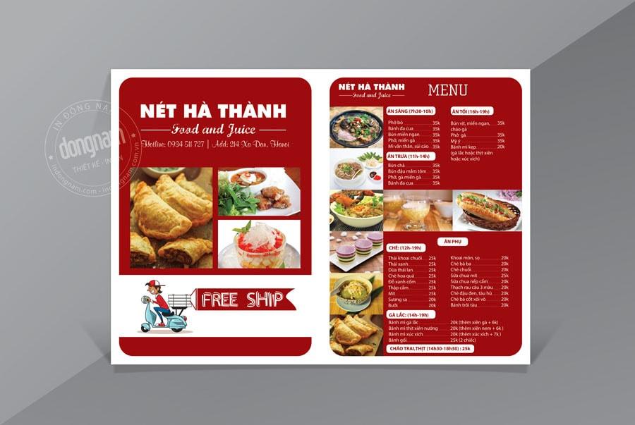 Mẫu tờ rơi kết hợp menu nhà hàng quán ăn